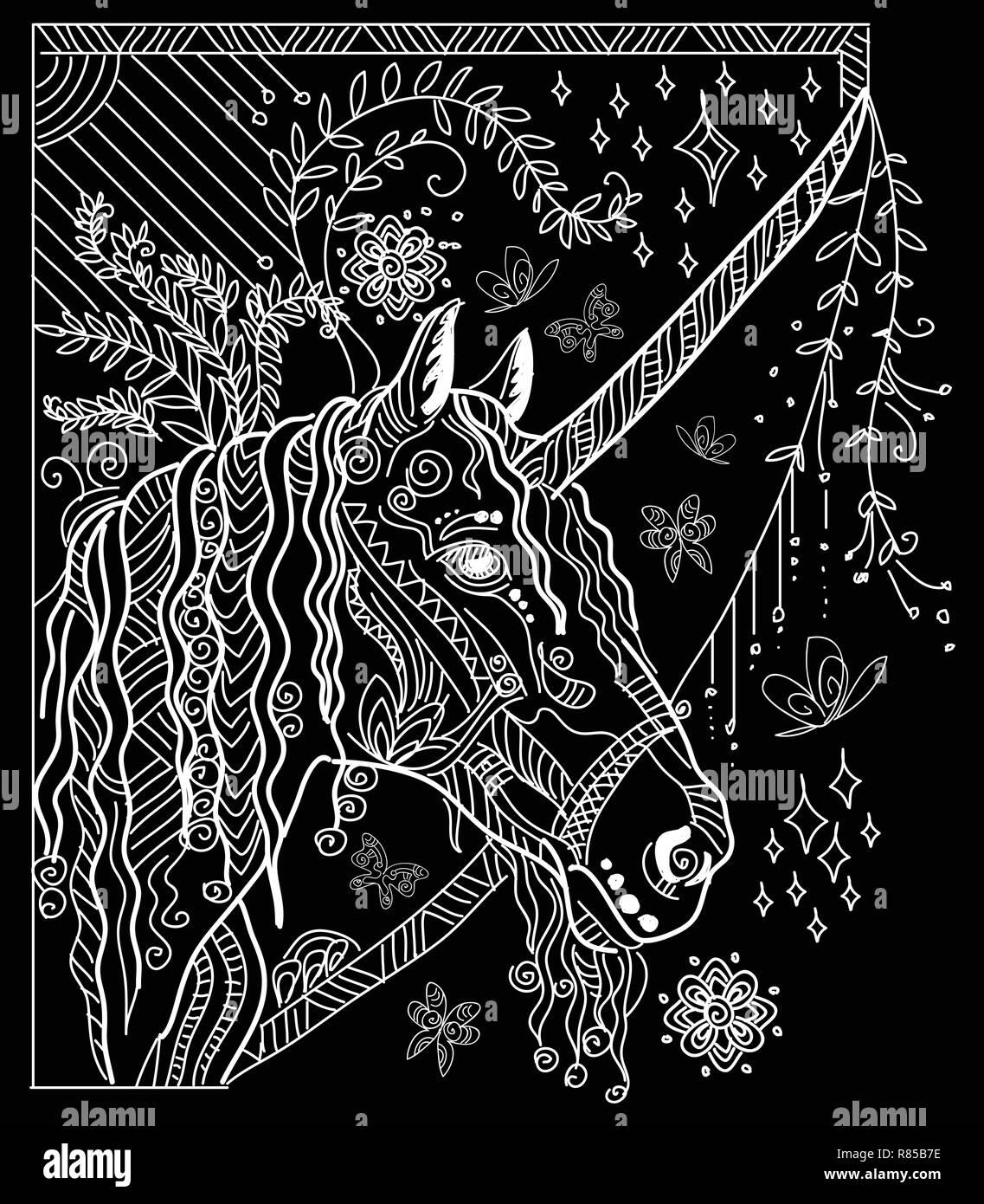 Vettore Di Disegno A Mano Illustrazione Zentangle Unicorn In Colore