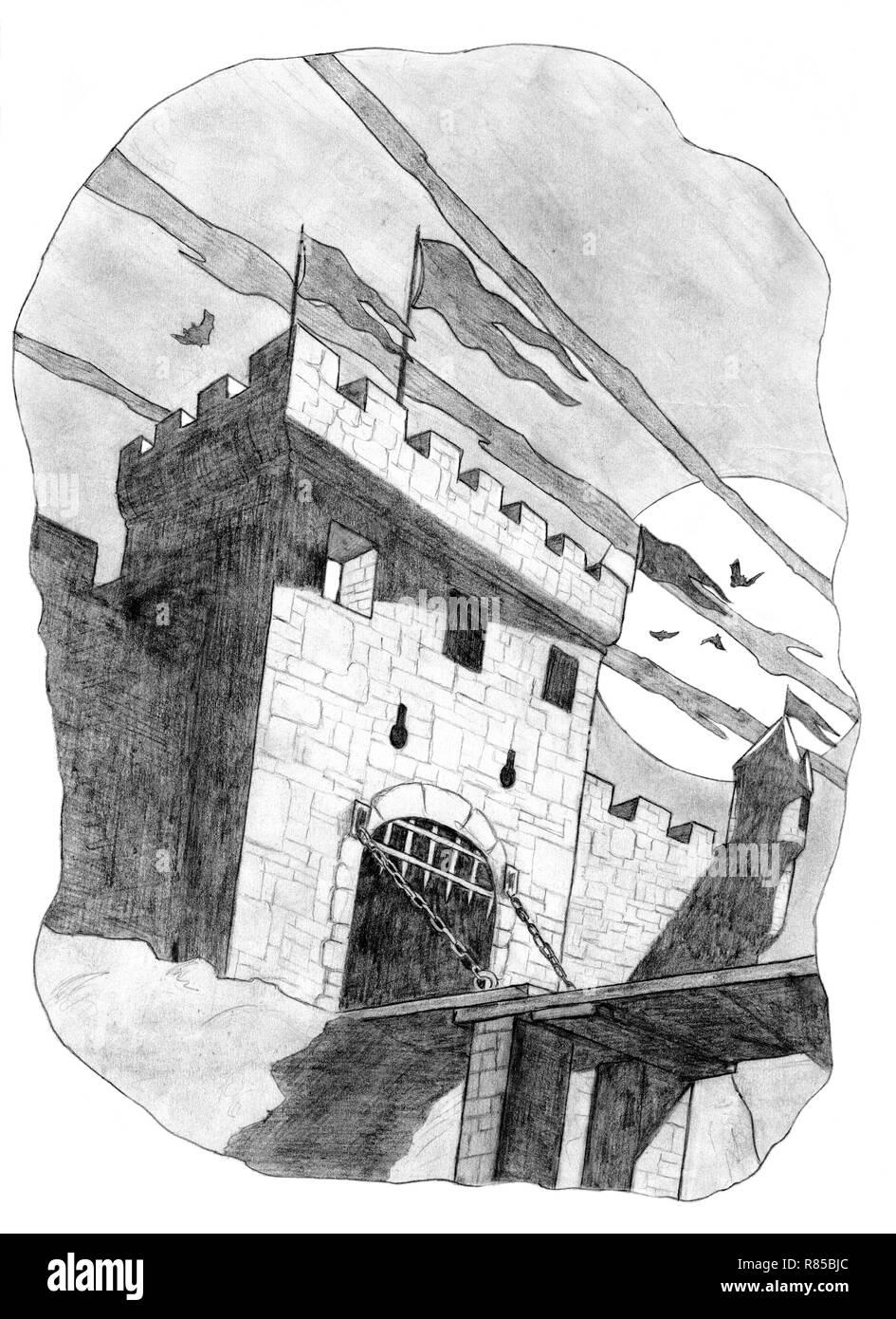 Disegno A Matita Di Torre Di Castello E Di Gate Nella Luce Della