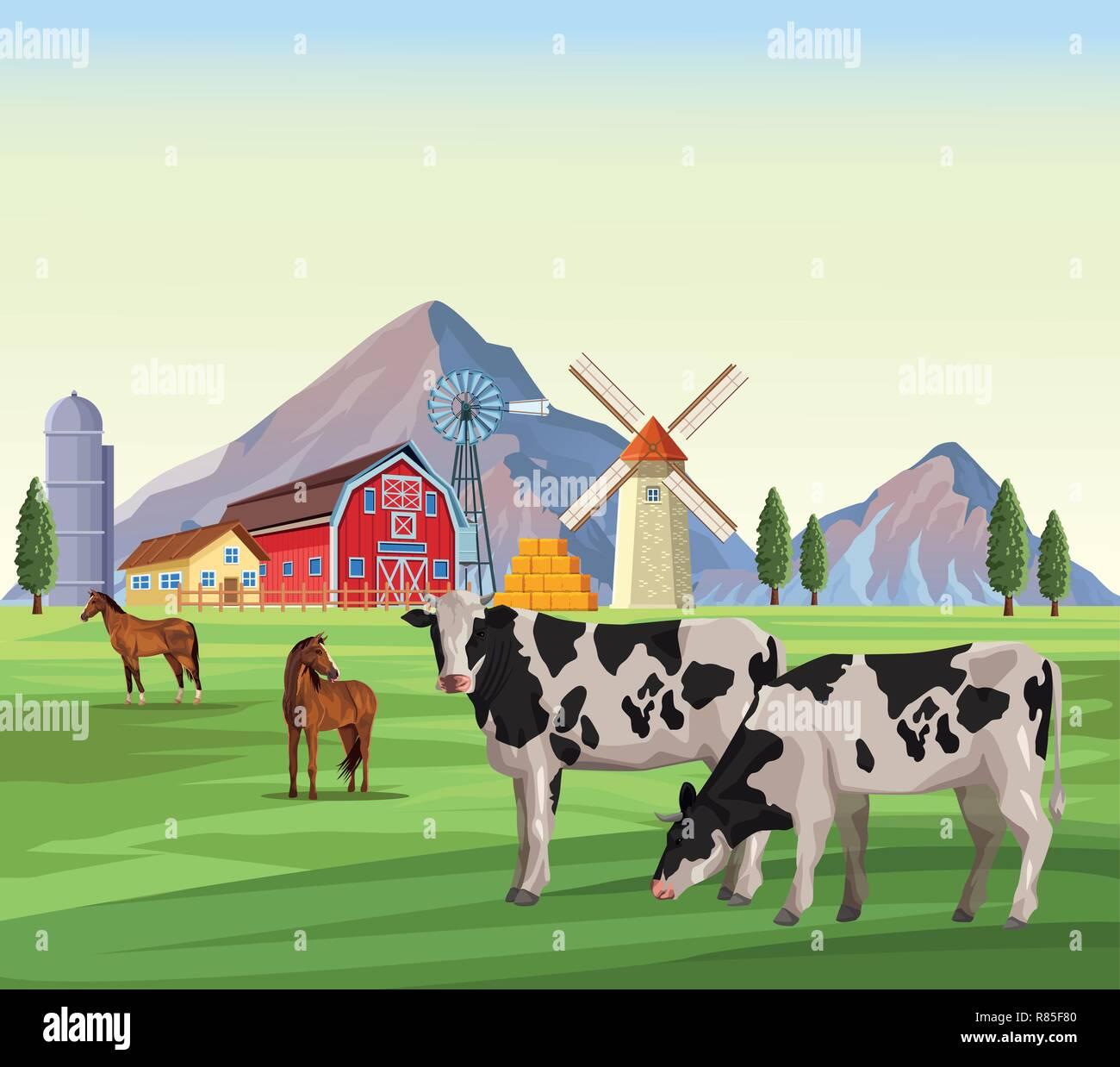 Cartone animato animali della fattoria mucca maiale anatra gallina