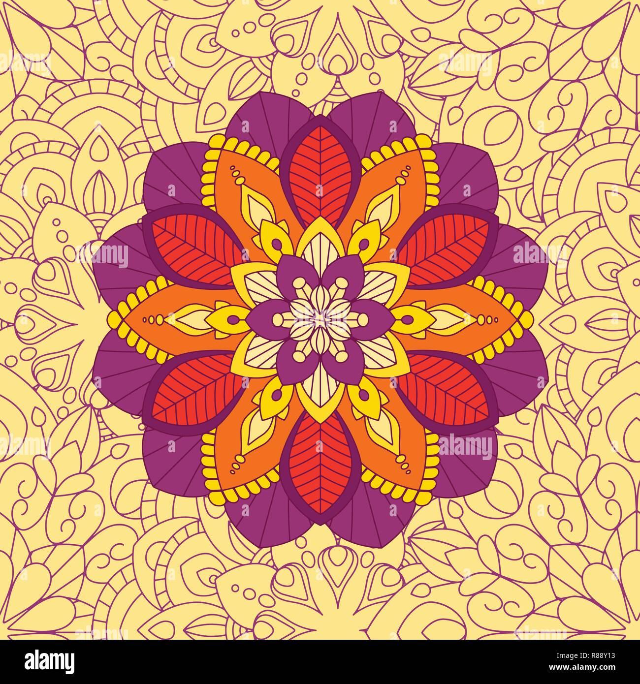 Doodle mandala seamless pattern, elementi floreali, ornamento decorativo. Il modello di ripetizione dello sfondo. Araba, Asiatica, motivi ottomano. Disegnato a mano illustrazione vettoriale Immagini Stock