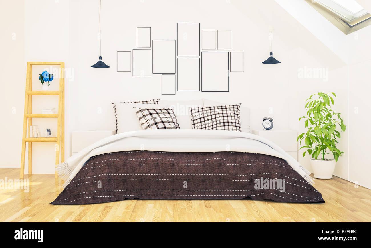 Camera da letto con cornici foto su una parete mockup rendering 3d foto immagine stock - Cornici foto da parete ...