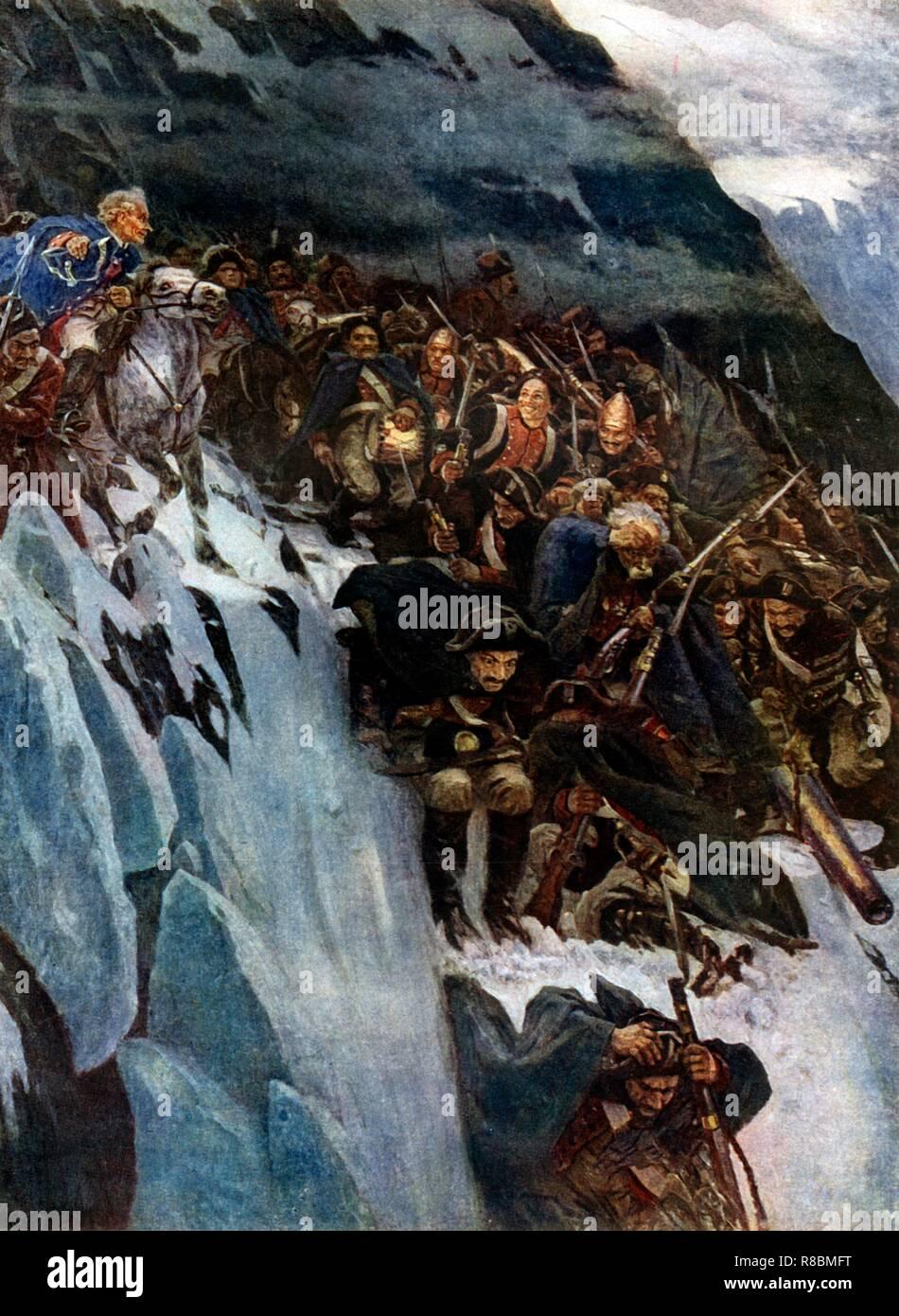 """'Suvorov del marzo attraverso le Alpi"""", 1799, (1899), (1939). Nel 1799 e 1780, il generale Alexander Suvorov (1729-1800) comandato un esercito russo in campagne contro i francesi in Piemonte e Svizzera. Di fronte alla sconfitta, condusse le sue truppe in un epica ritirata attraverso diversi passi alpini, reminiscenza di Annibale. Vassili Surikov (1848-1916) visitied Svizzera per fare ricerca per la pittura, noto anche come """"uvorov attraversamento delle Alpi nel 1799"""", che fu acquistato dal Tsar Nicholas II. Surikov è noto per i suoi storici dipinti in stile realista. Egli è stato un membro della Peredvizhniki, un artisti Immagini Stock"""