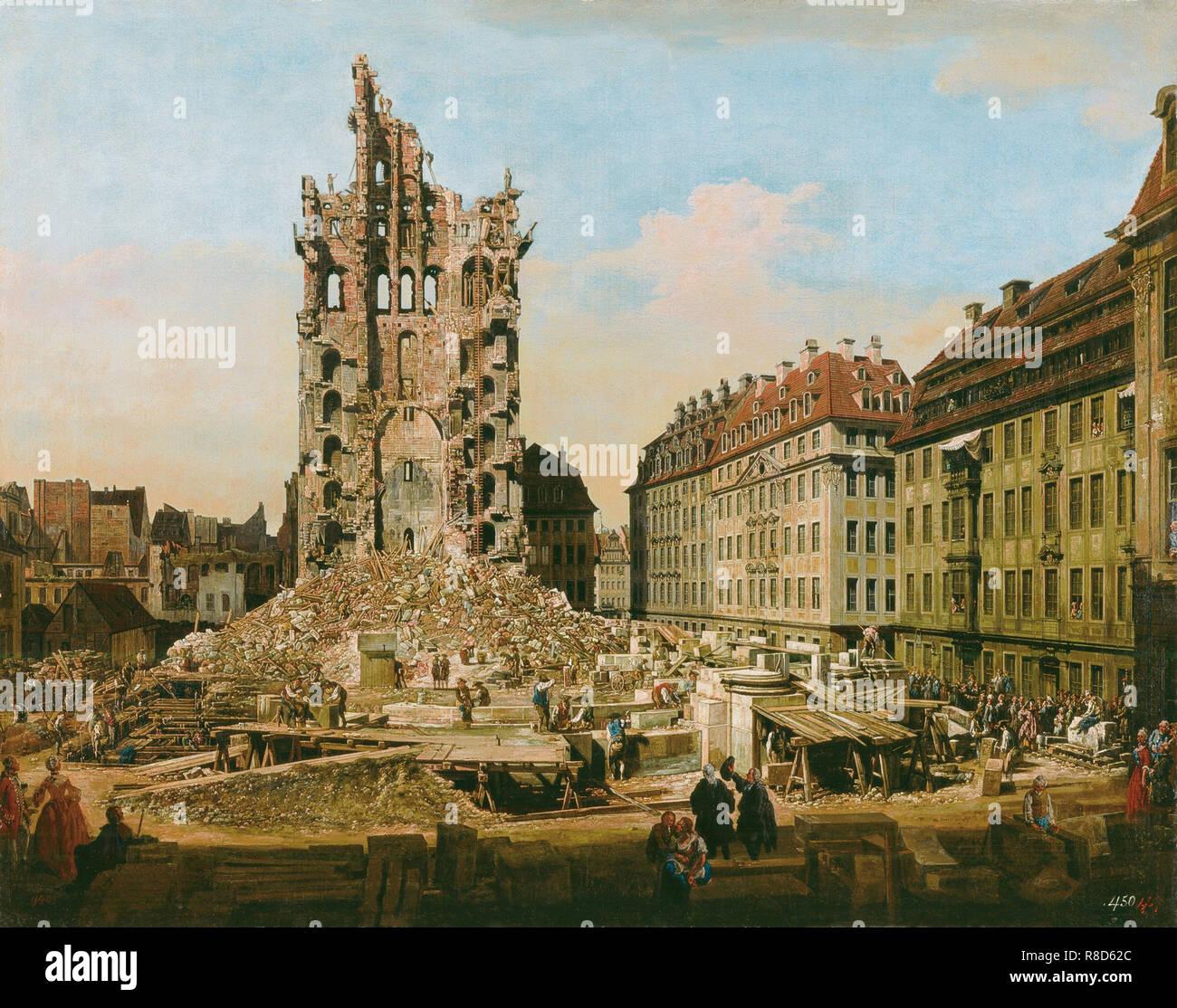 Le rovine della vecchia Kreuzkirche, Dresda, 1765. Presenti nella collezione del museo Kunsthaus Züricco. Immagini Stock