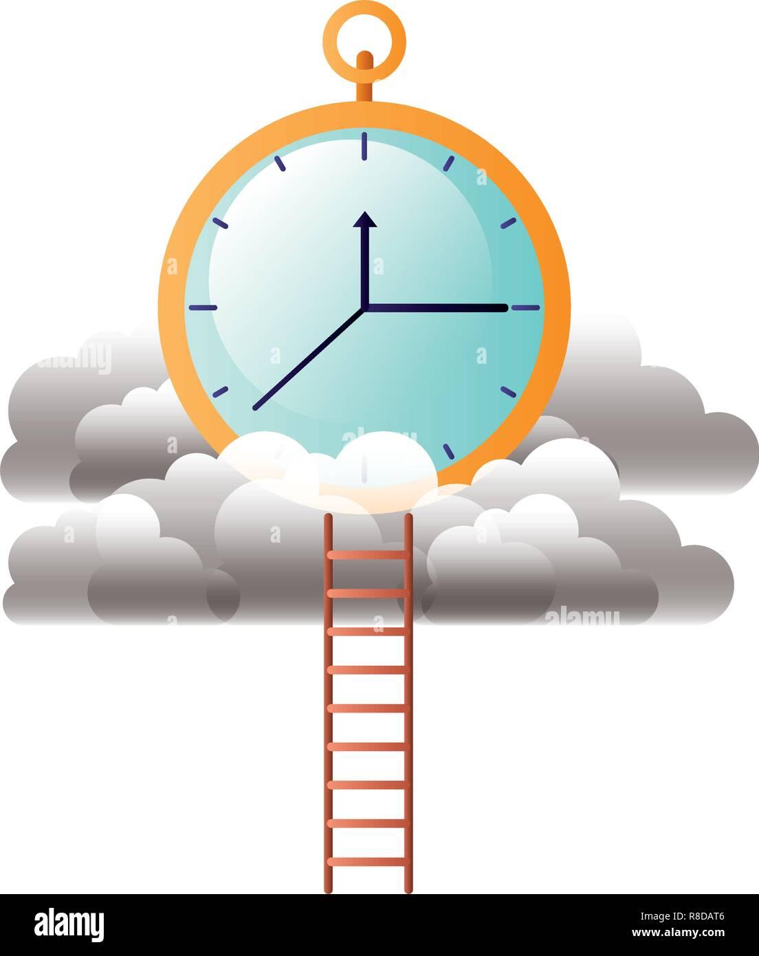 Orologio con nuvole e scale Illustrazione Vettoriale