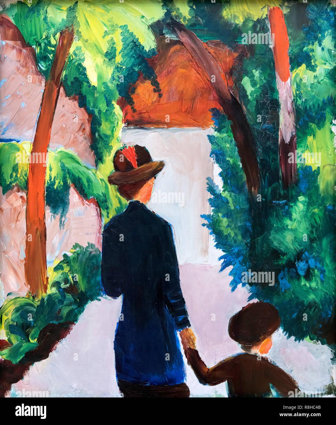 La madre e il bambino nel parco da August Macke (1887-1914), olio su tela su cartone, 1914 Immagini Stock