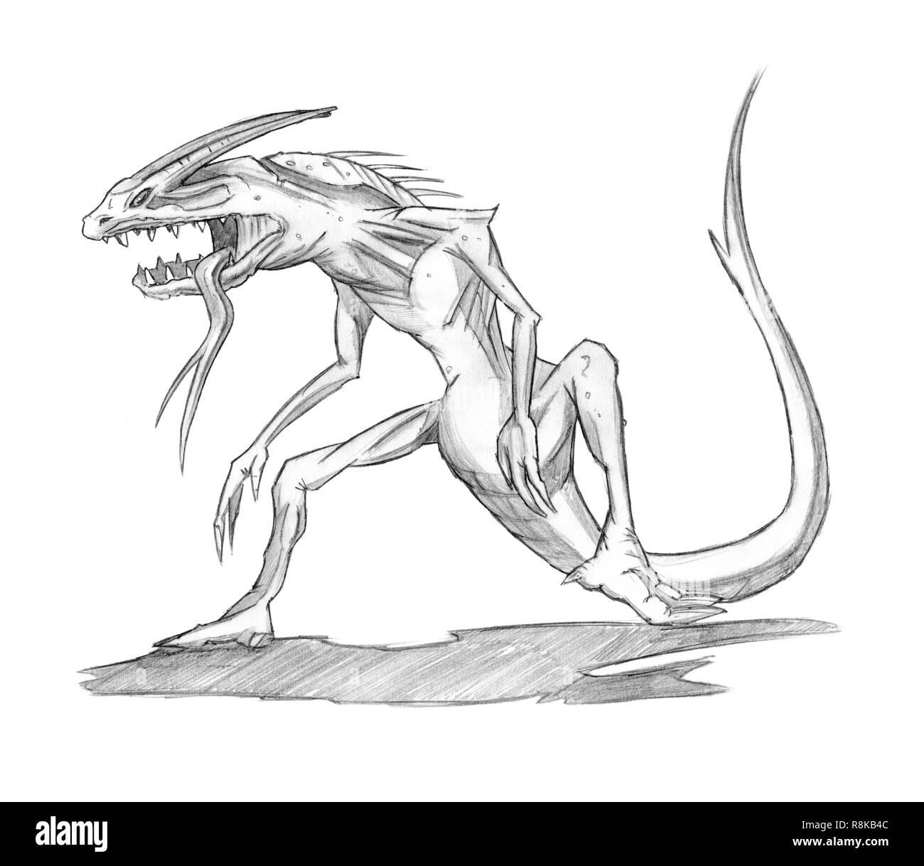 Concetto Di Matita Disegno Di Arte Di Fantasia Lizard Demon O