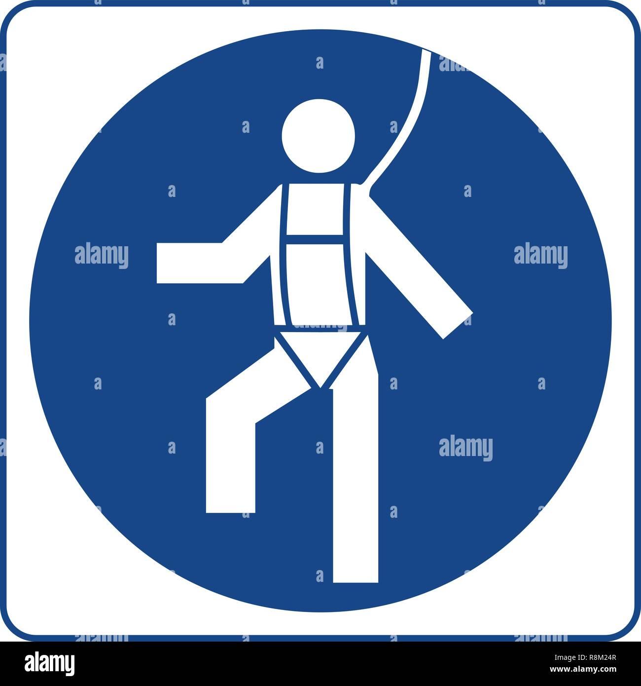 Cablaggio di sicurezza deve essere indossato. Informazioni obbligatorio il simbolo nel cerchio blu isolato su bianco. Etichetta di avvertenza. Immagini Stock