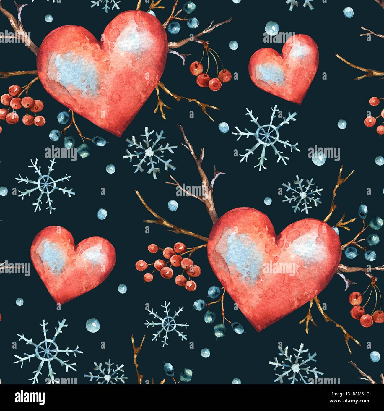 Inverno Acquerello Naturali Modello Senza Cuciture Con Cuore Rosso
