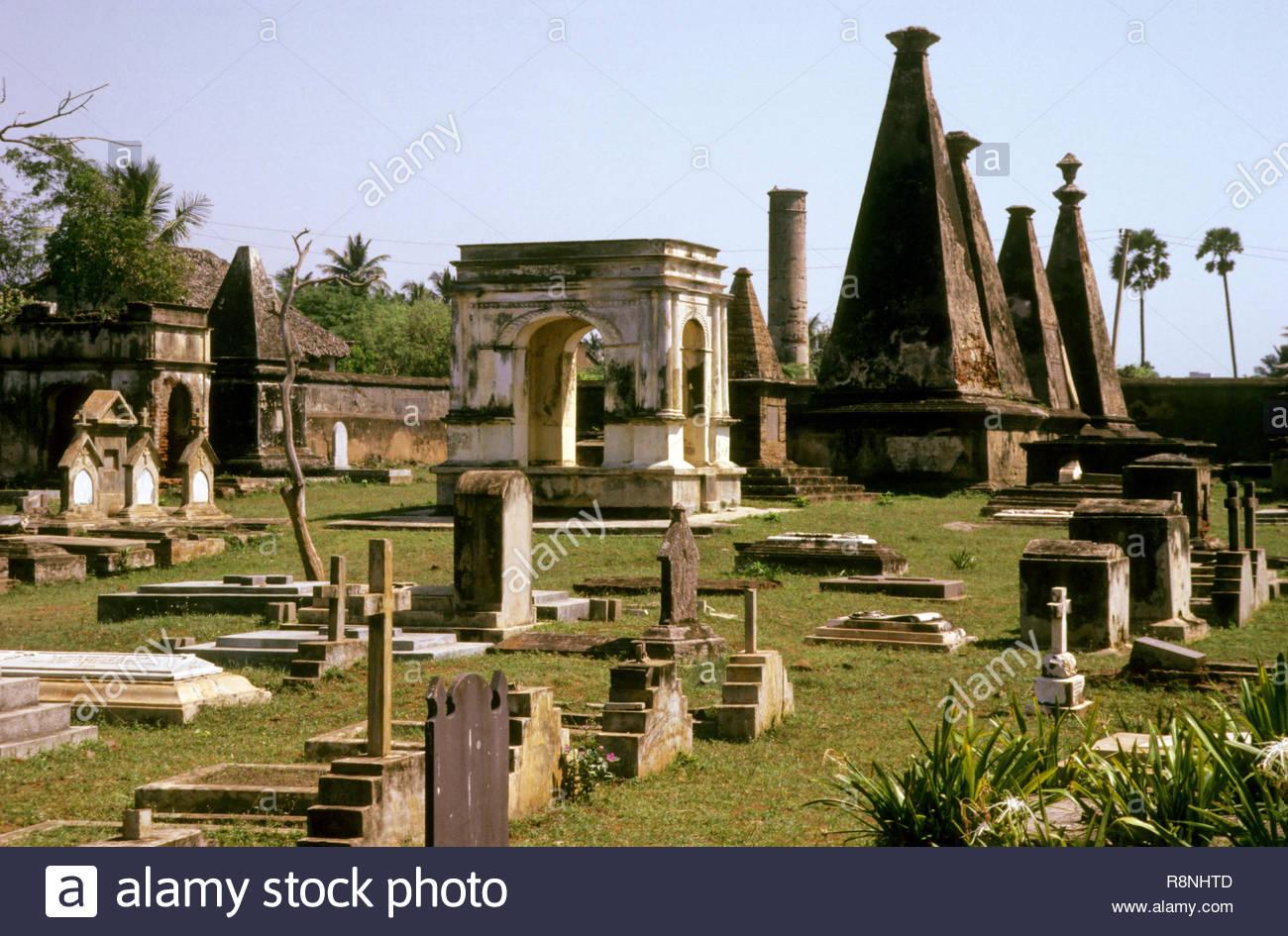 Xvii annuncio cimitero olandese, Andhra Pradesh, India Immagini Stock
