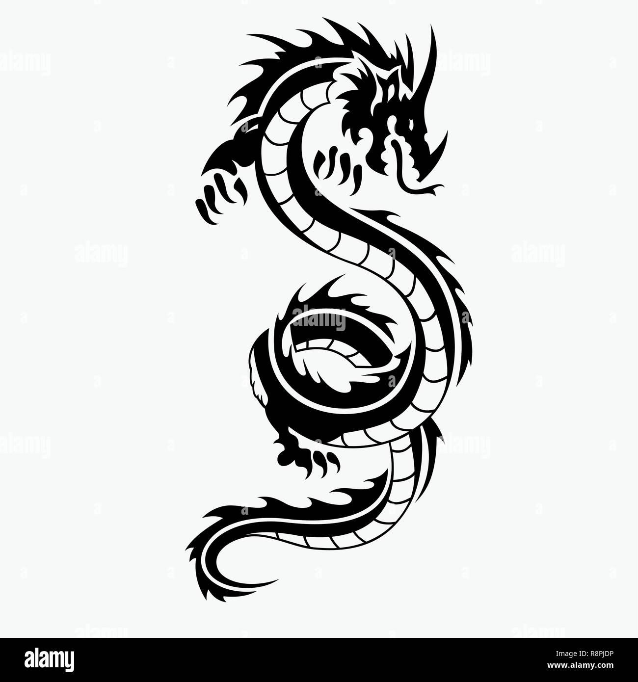 Dragon Illustrazione Vettoriale Per Tatuaggio Disegni Loghi Icone