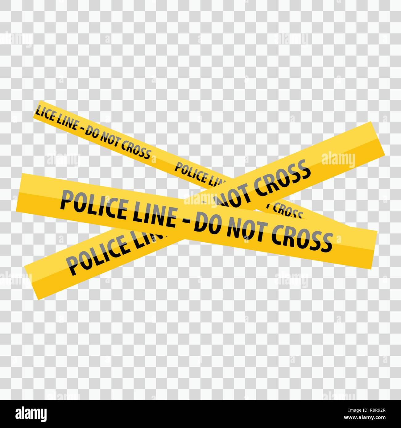 Giallo linea di polizia non Cross Immagini Stock