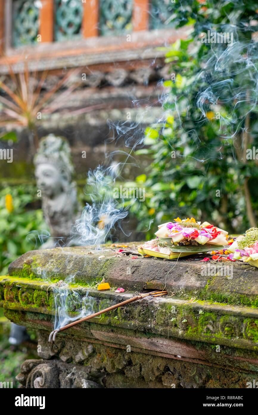 Indonesia, Bali, centro Ubud, Taman Saraswati tempio, offrendo incenso e Immagini Stock