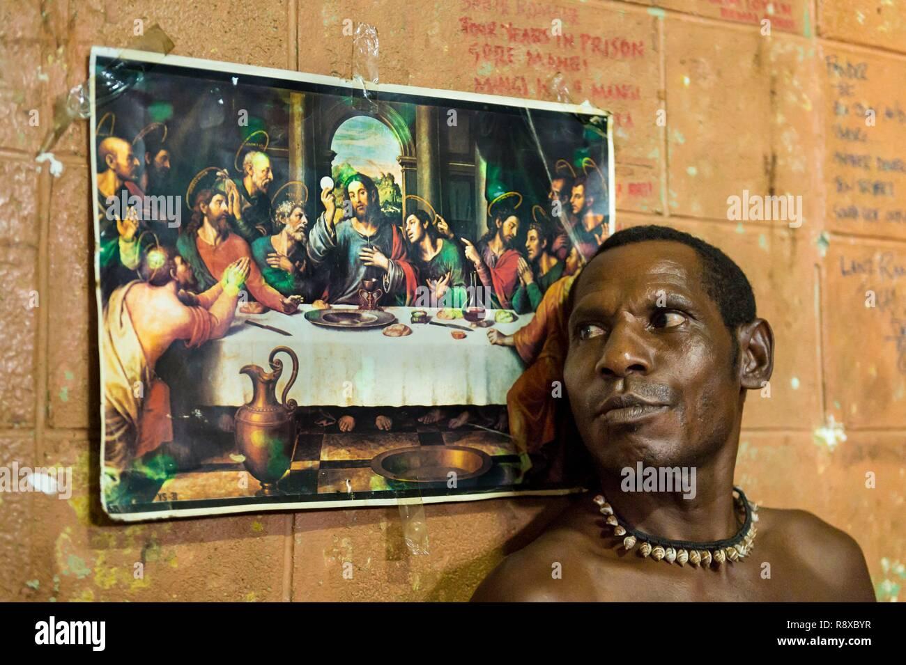 Papua Nuova Guinea, Golfo di Papua, Capitale Nazionale di Port Moresby, città di Bomana carcere di massima sicurezza, Area di prigione con un poster religiosi Immagini Stock