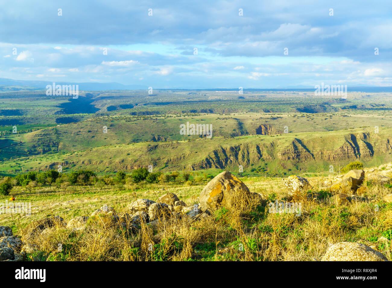 Il paesaggio della valle del Giordano e le pendici delle alture del Golan, nel nord di Israele Immagini Stock