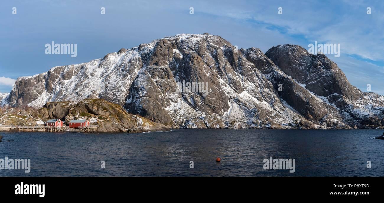 Norvegia, Nordland County, Isole Lofoten, Nusfjord Immagini Stock