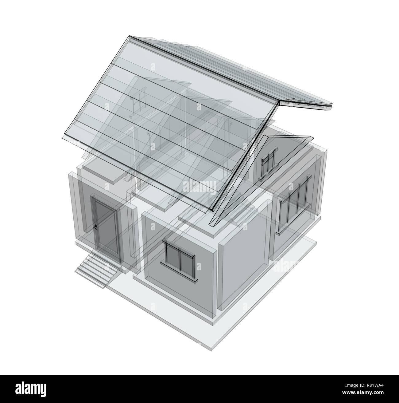 3d Disegno Di Una Casa Scopo Su Bianco Foto Immagine Stock