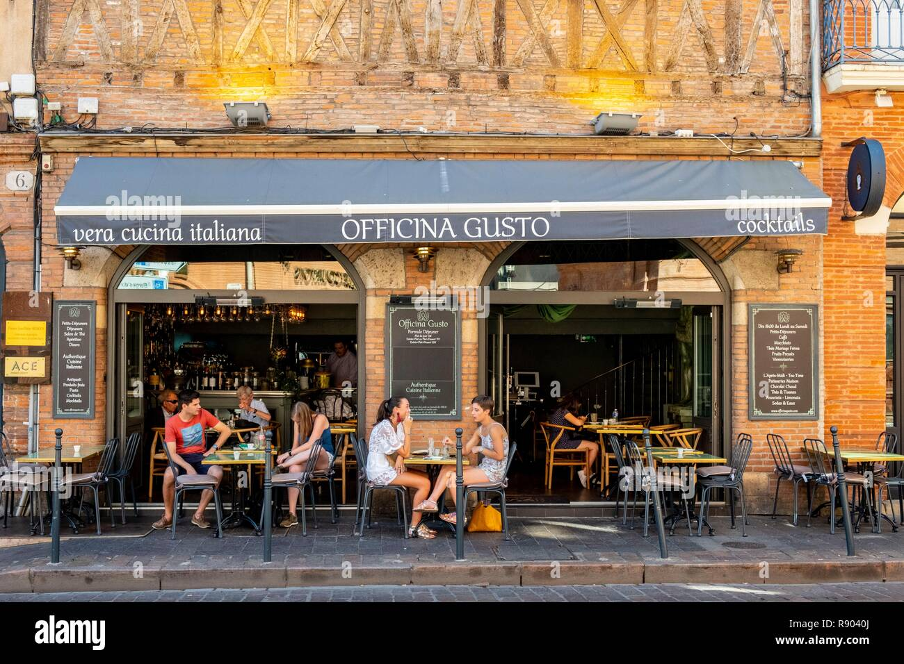 Francia, Haute Garonne, Toulouse, ristorante italiano Officina di gusto Immagini Stock