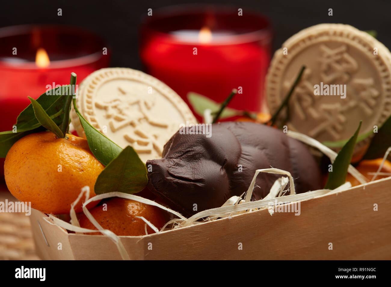 Cinese o il nuovo anno lunare cestello Immagini Stock