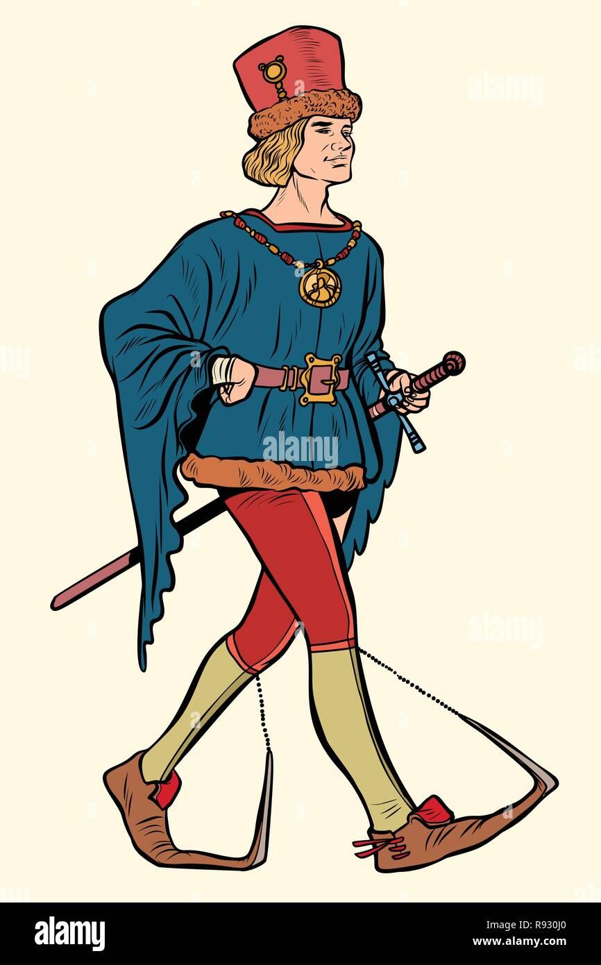 Poulaines usurati, l uomo medievale del XV secolo. La Pop art retrò illustrazione vettoriale kitsch vintage Immagini Stock