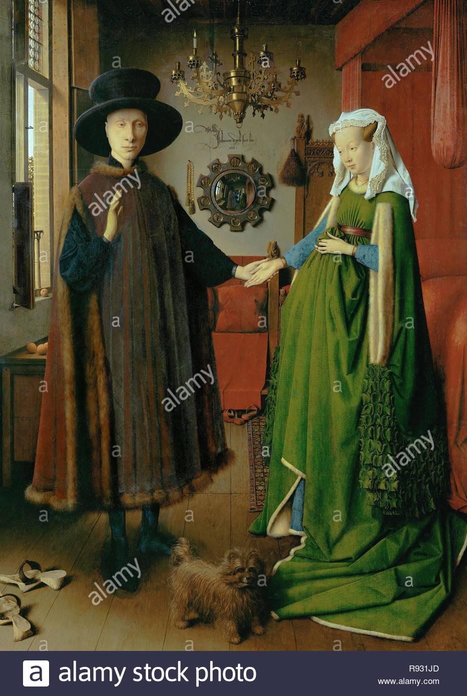 """Jan van Eyck / 'l'Arnolfini Portrait"""", 1434, olio su pannello, 82 x 60 cm. Museo: Galleria Nazionale. Immagini Stock"""