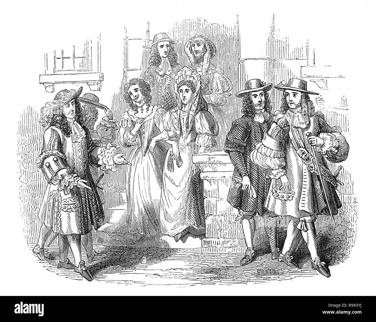 Costume indossato dalla nobiltà e gentry,durante il breve regno di re Giacomo II1685-1688 dopo la morte di suo padre Re Carlo II. Immagini Stock