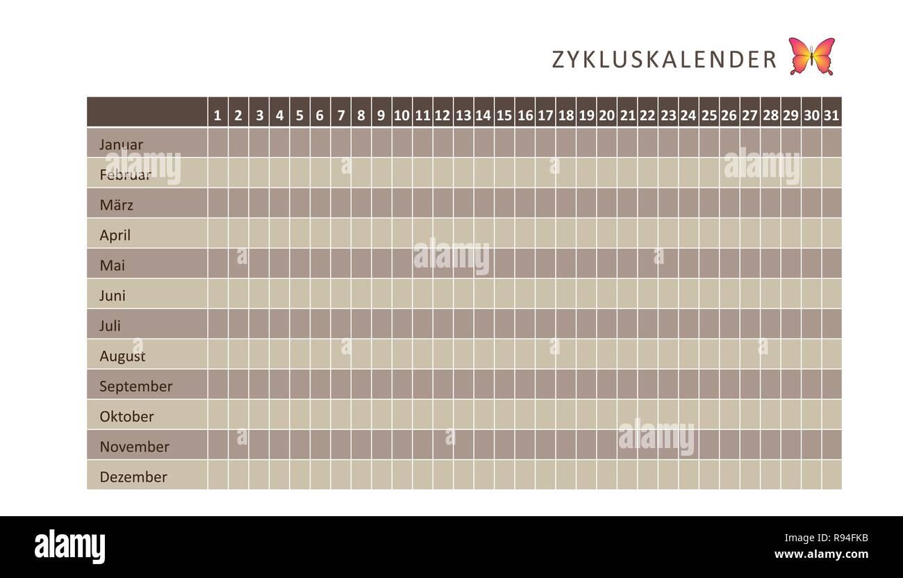 Calendario Del Ciclo Mestruale.Mensile Calendario Mestruale Del Ciclo Mestruale Marrone Con