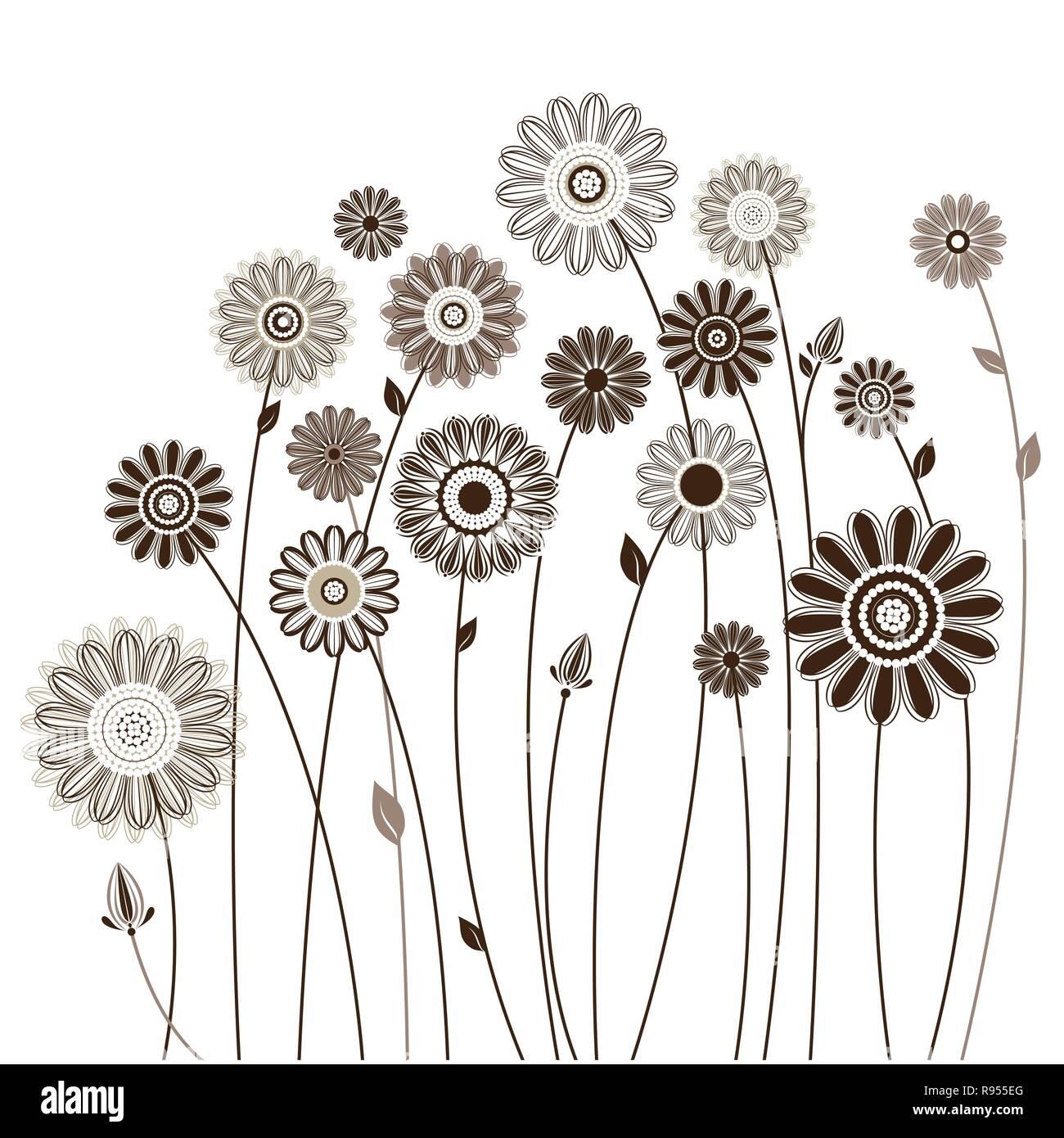 Mazzo Di Fiori Stilizzato.Scheda Floreali Bouquet Di Fiori Stilizzati Illustrazione