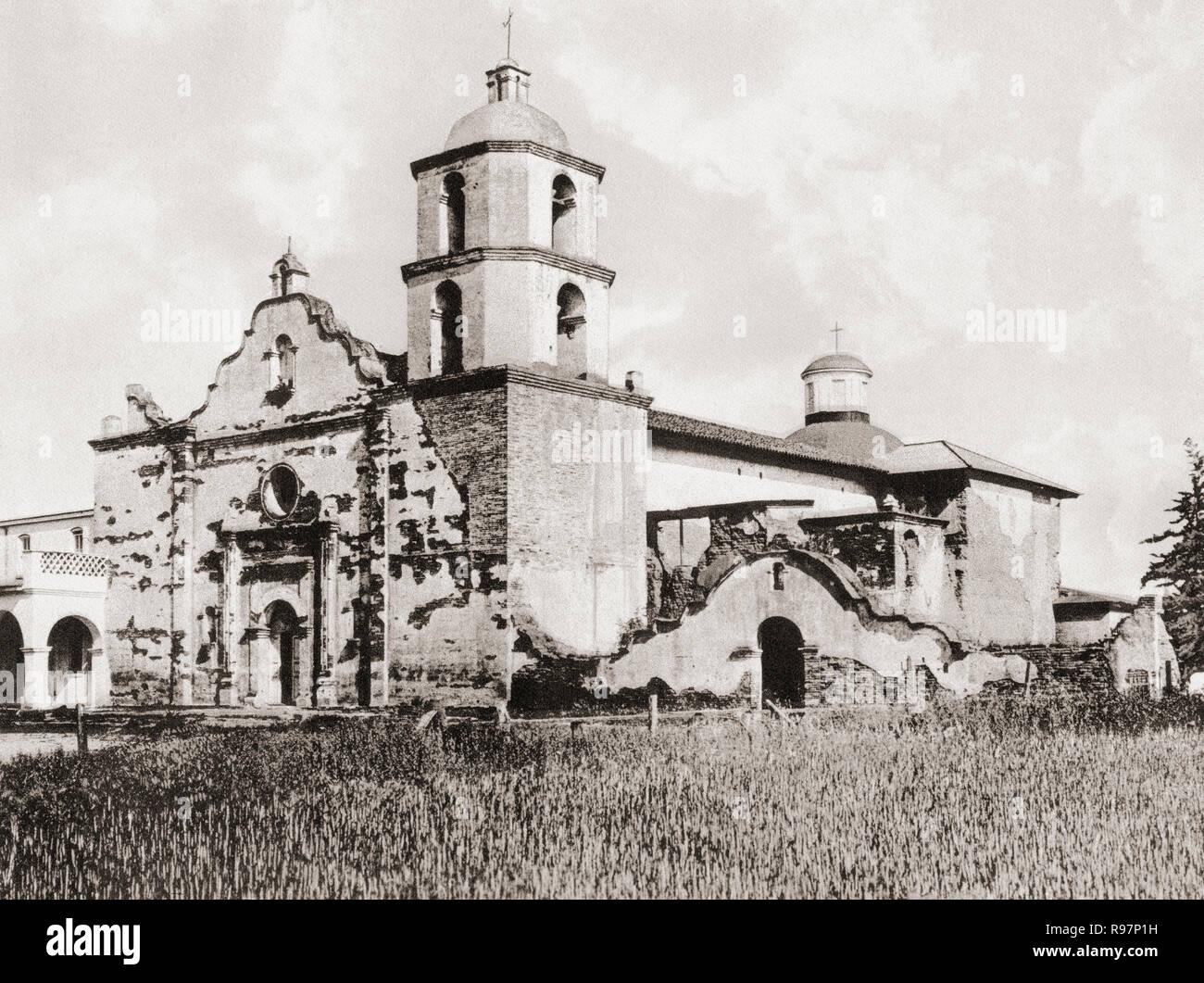 La missione di San Luis Rey de Francia, San Luis Rey, della Contea di San Diego, California, Stati Uniti d'America, c. 1915. La missione è stata fondata il 13 giugno 1798 da Padre Fermín Lasuén. Dalla splendida California, pubblicato 1915. Immagini Stock
