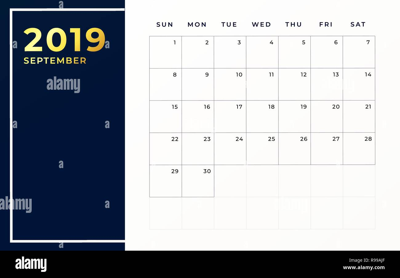 Calendario Mensile Settembre 2020.Settembre 2019 Modello Di Pianificazione Settimana Comincia