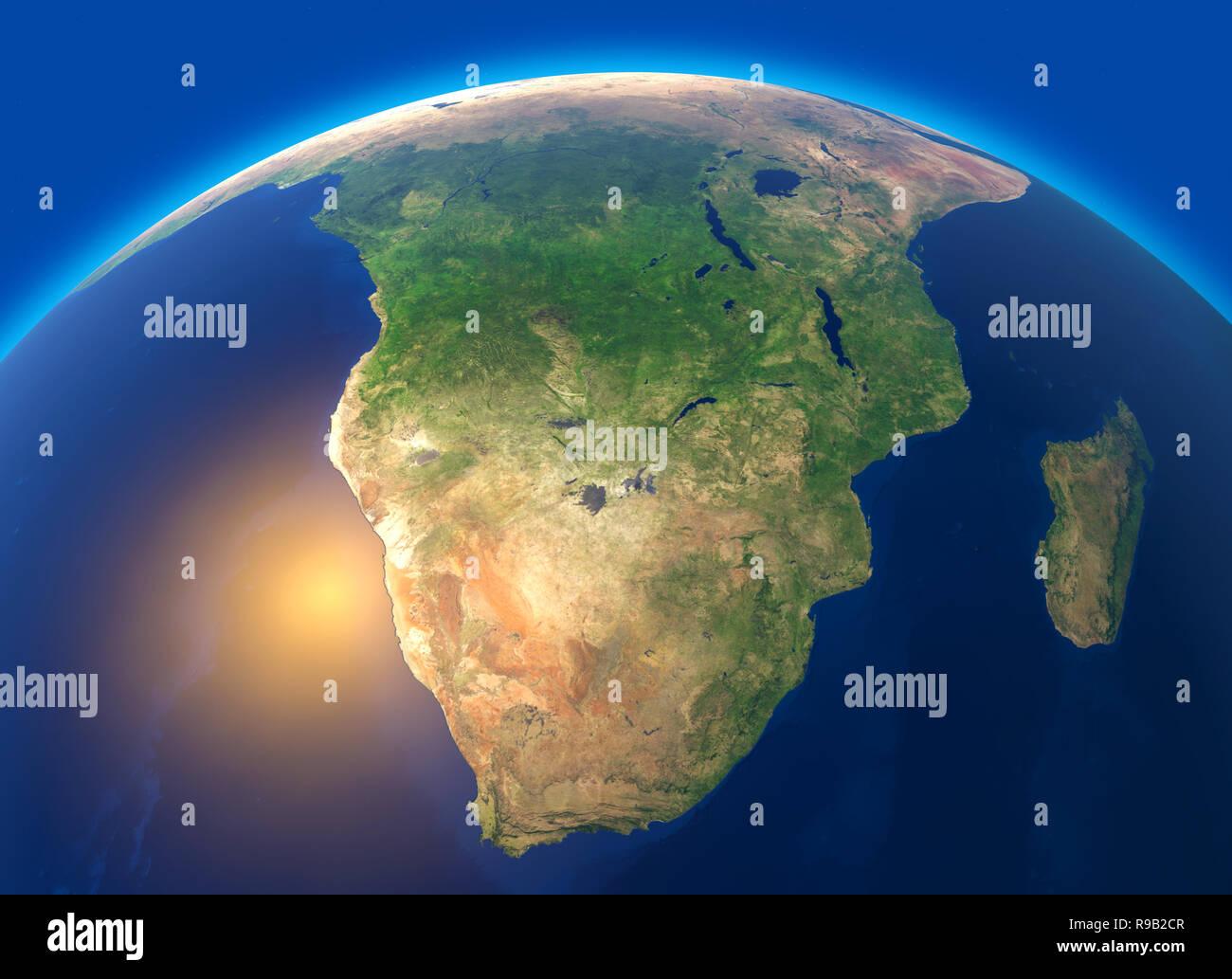 Cartina Satellitare Mondo.Cartina Fisica Del Mondo Vista Satellitare Del Sud Africa Globo Emisfero Rilievi E Oceani Il Rendering 3d Foto Stock Alamy