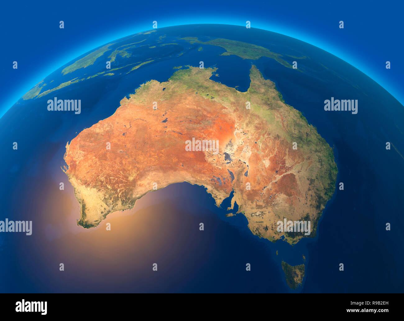 Cartina Satellitare Mondo.Cartina Fisica Del Mondo Vista Satellitare Di Australia Oceania Globo Emisfero Rilievi E Oceani Il Rendering 3d Foto Stock Alamy