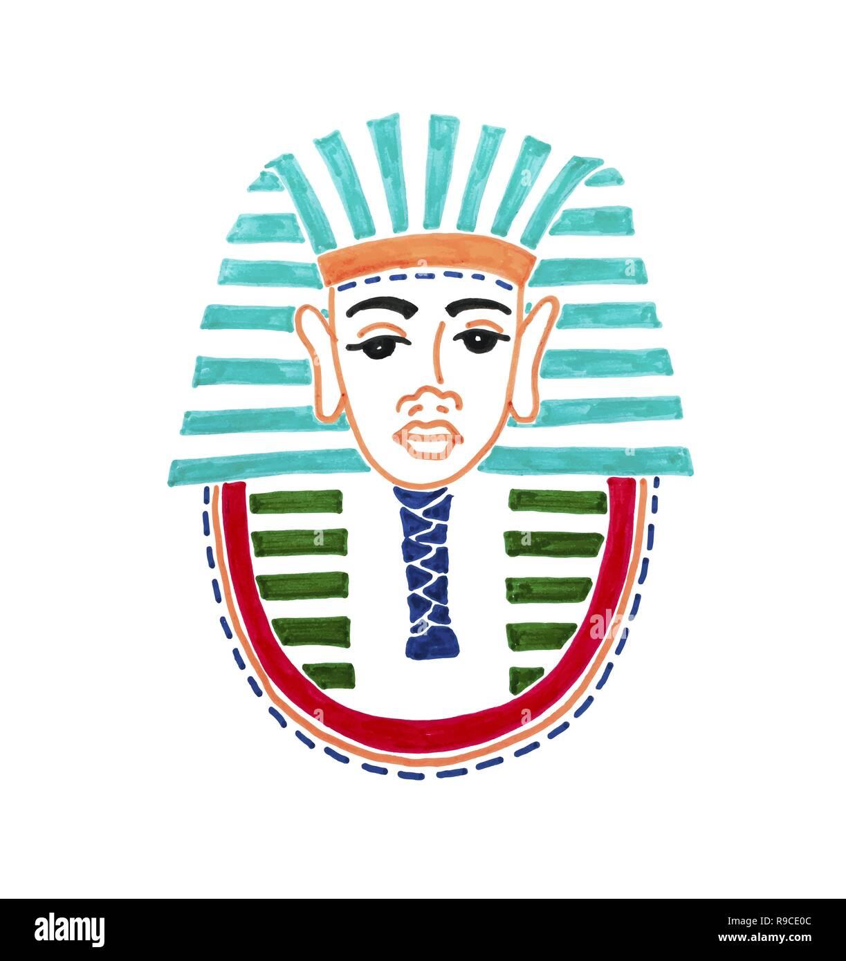 Disegno Di Un Faraone.Disegno Di Maschera Storica Del Faraone Tutankhamon Illustrazione