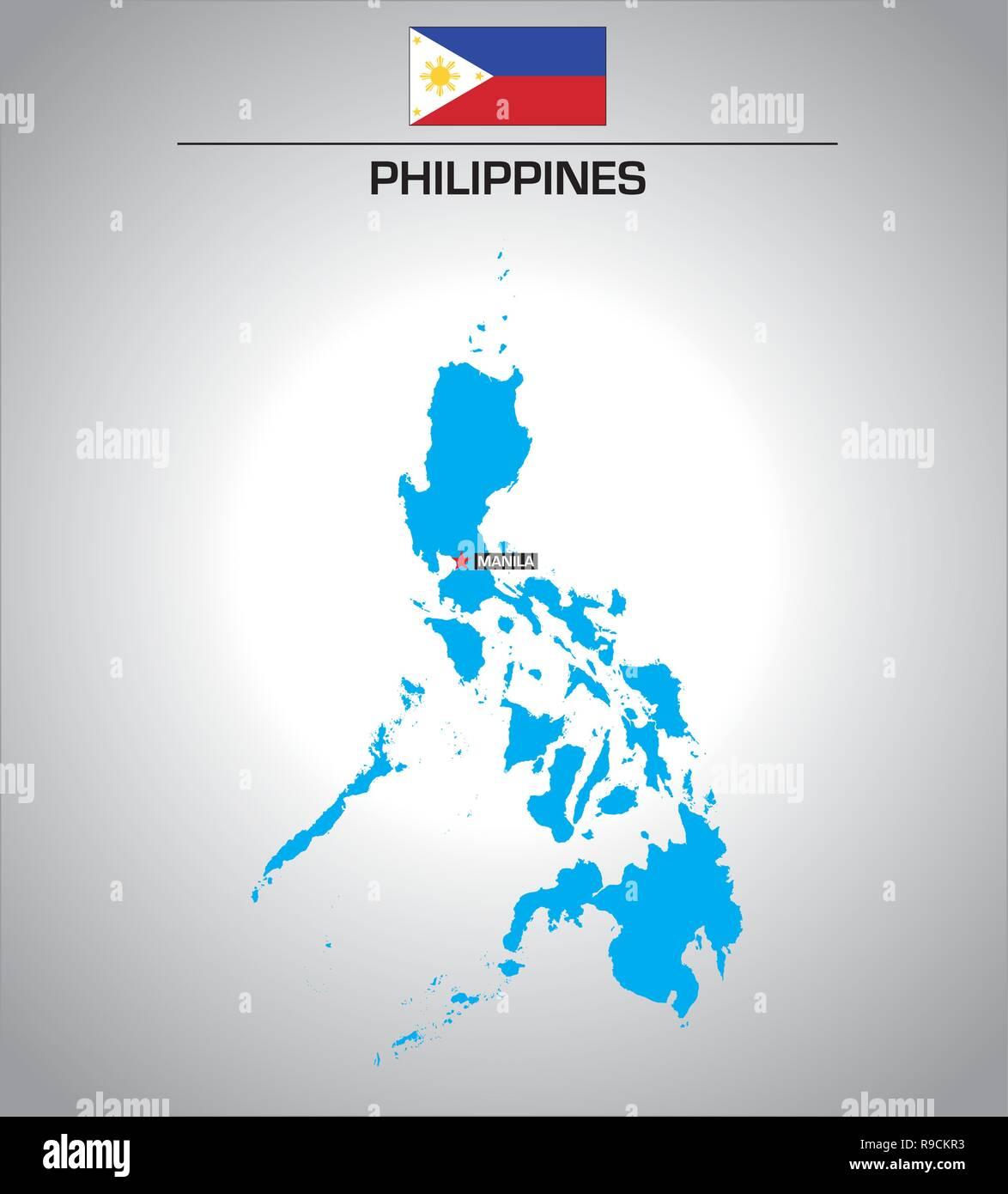 Vettore semplice schema Mappa di Filippine con bandiera Immagini Stock