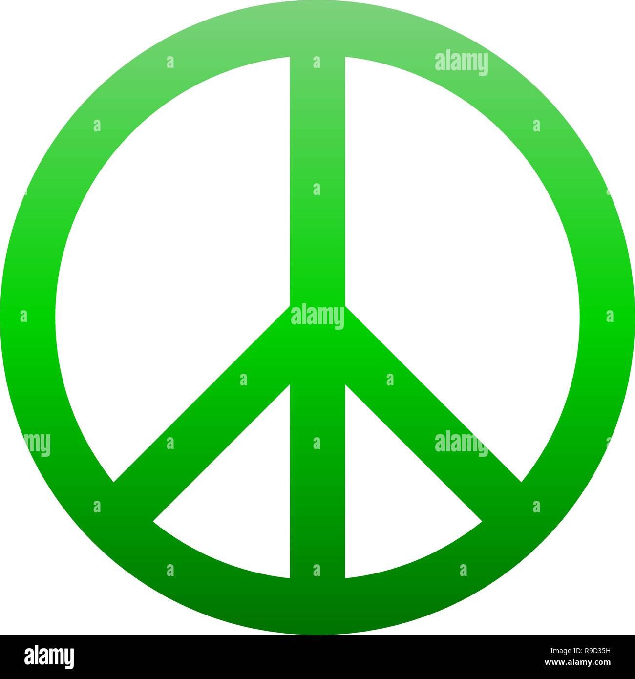 Simbolo di pace icona - verde gradiente semplice, isolato - illustrazione vettoriale Immagini Stock