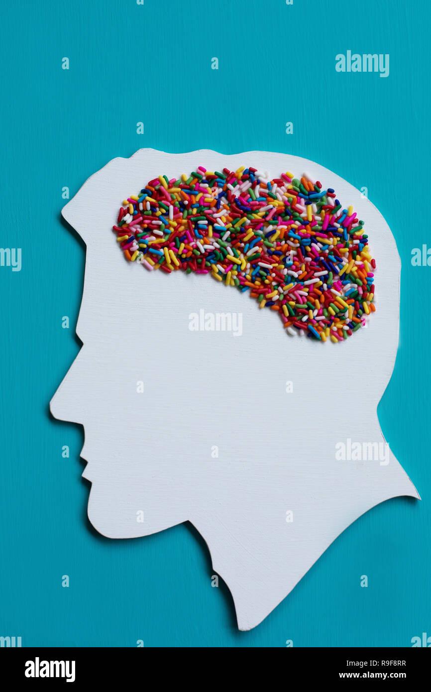 Conceptual: zucchero dipendenza e gli effetti dello zucchero sul cervello. Immagini Stock