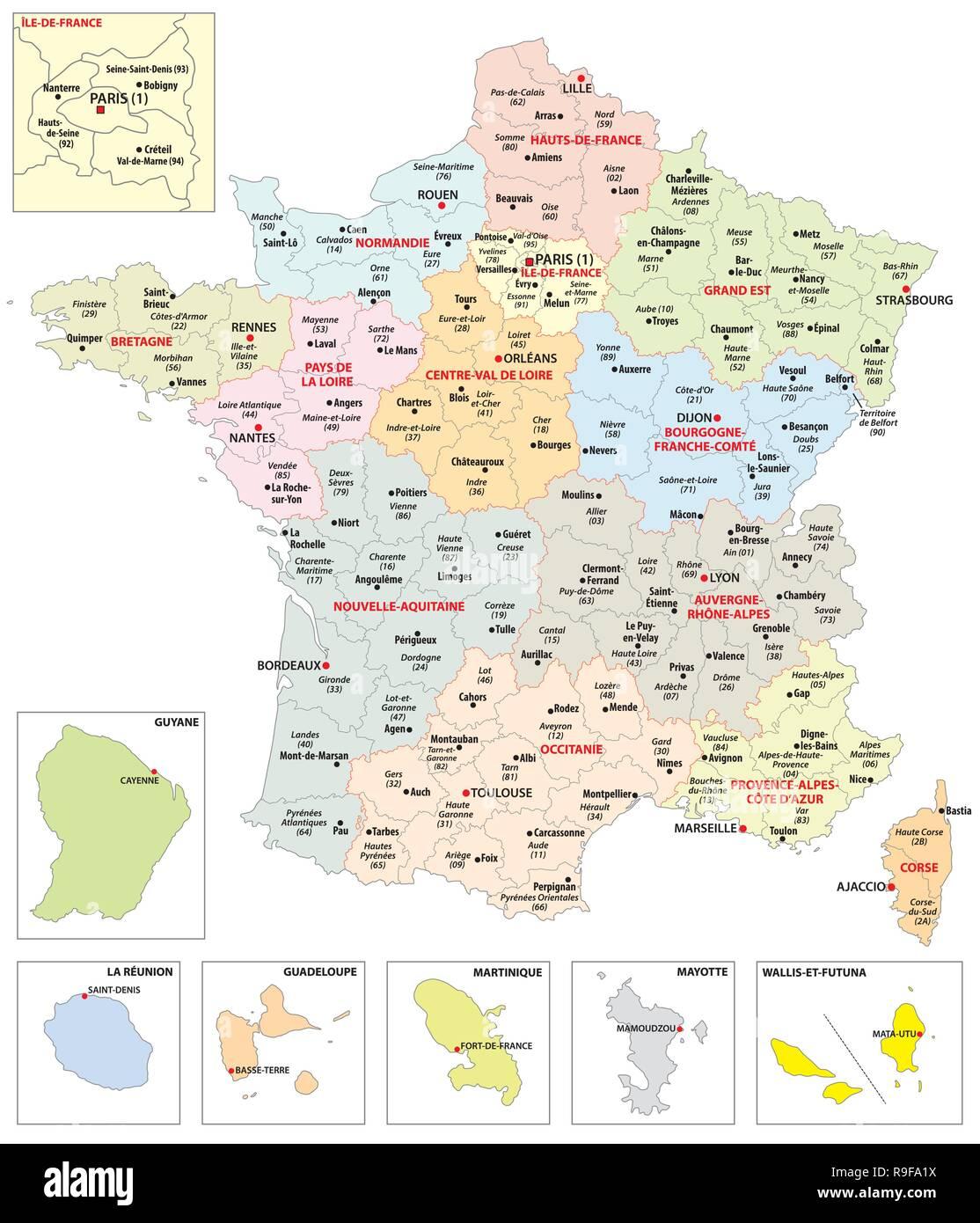 Francia Regioni Cartina.Mappa Amministrativa Delle 13 Regioni Della Francia E