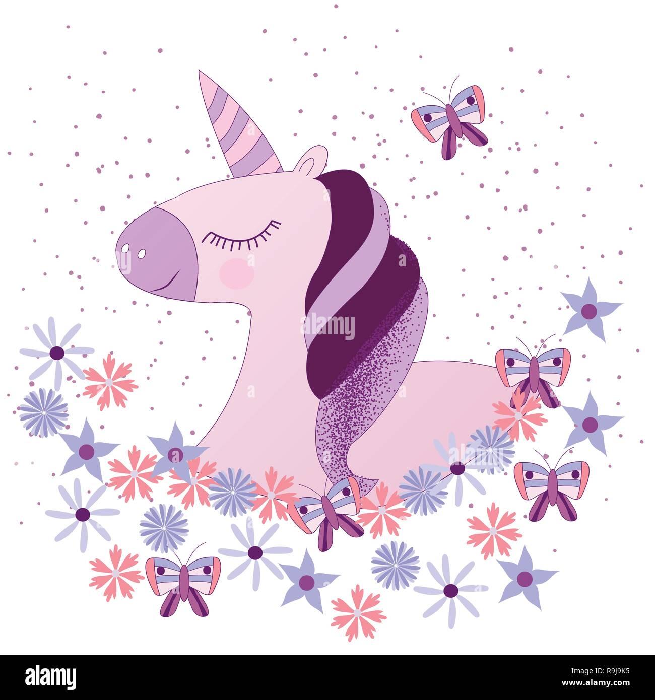 Carino Unicorno Magico Design Vettoriali Su Sfondo Bianco Stampa