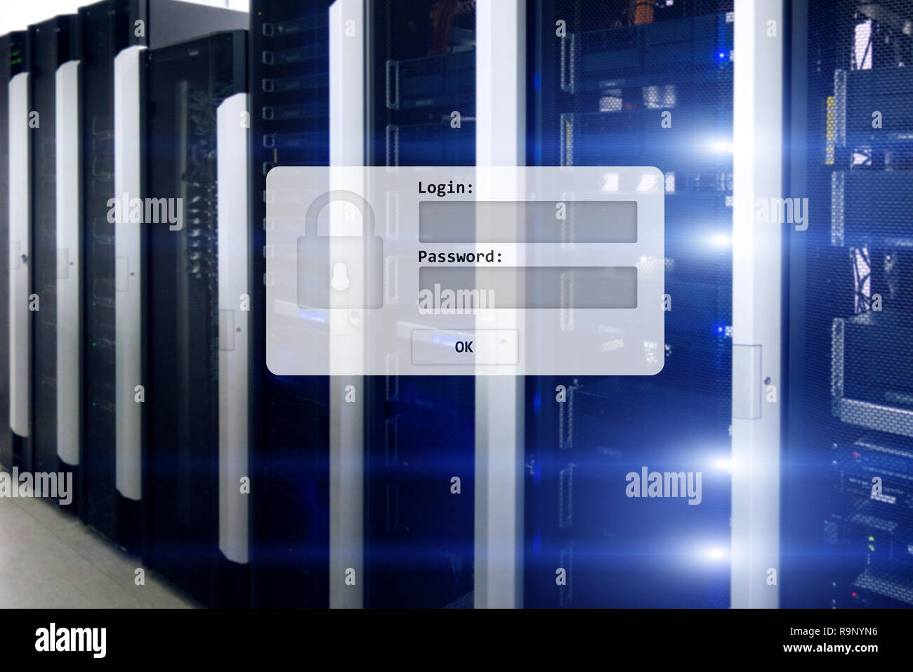 La sala server, login e password richiesta, accesso ai dati e la loro sicurezza. Foto Stock