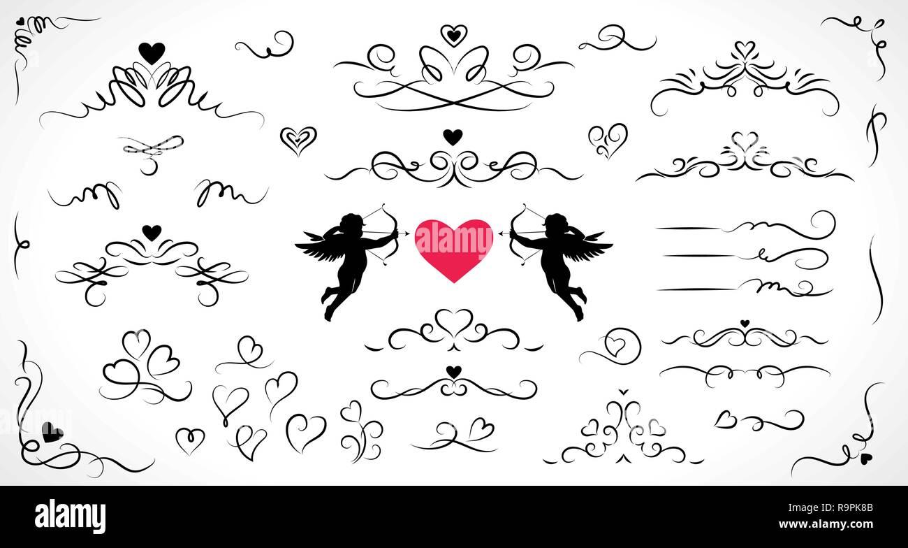 Raccolta di elementi fioriscono per matrimoni e il giorno di San Valentino decorazioni. Immagini Stock