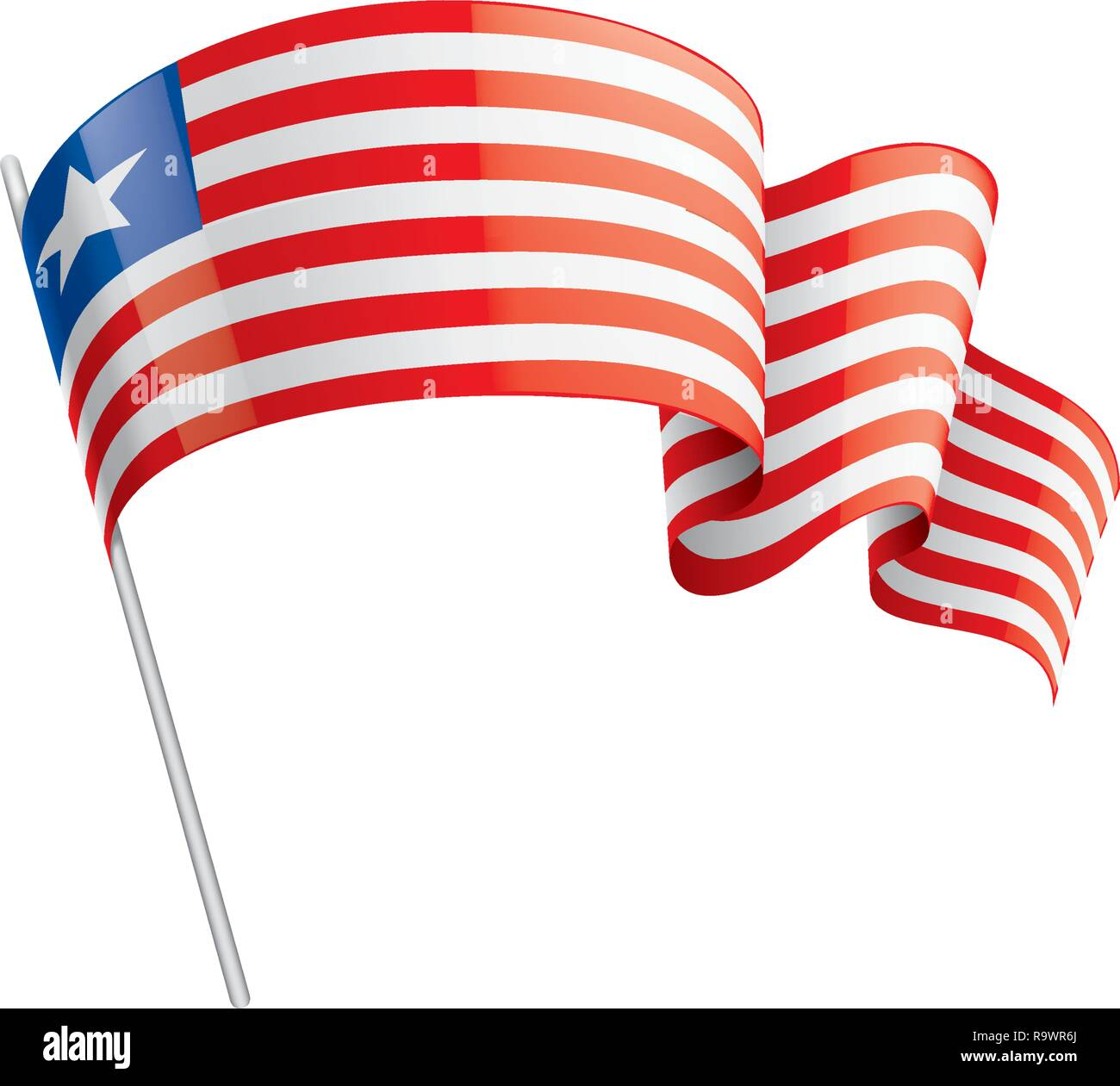 Liberia Bandiera Illustrazione Vettoriale Su Uno Sfondo Bianco