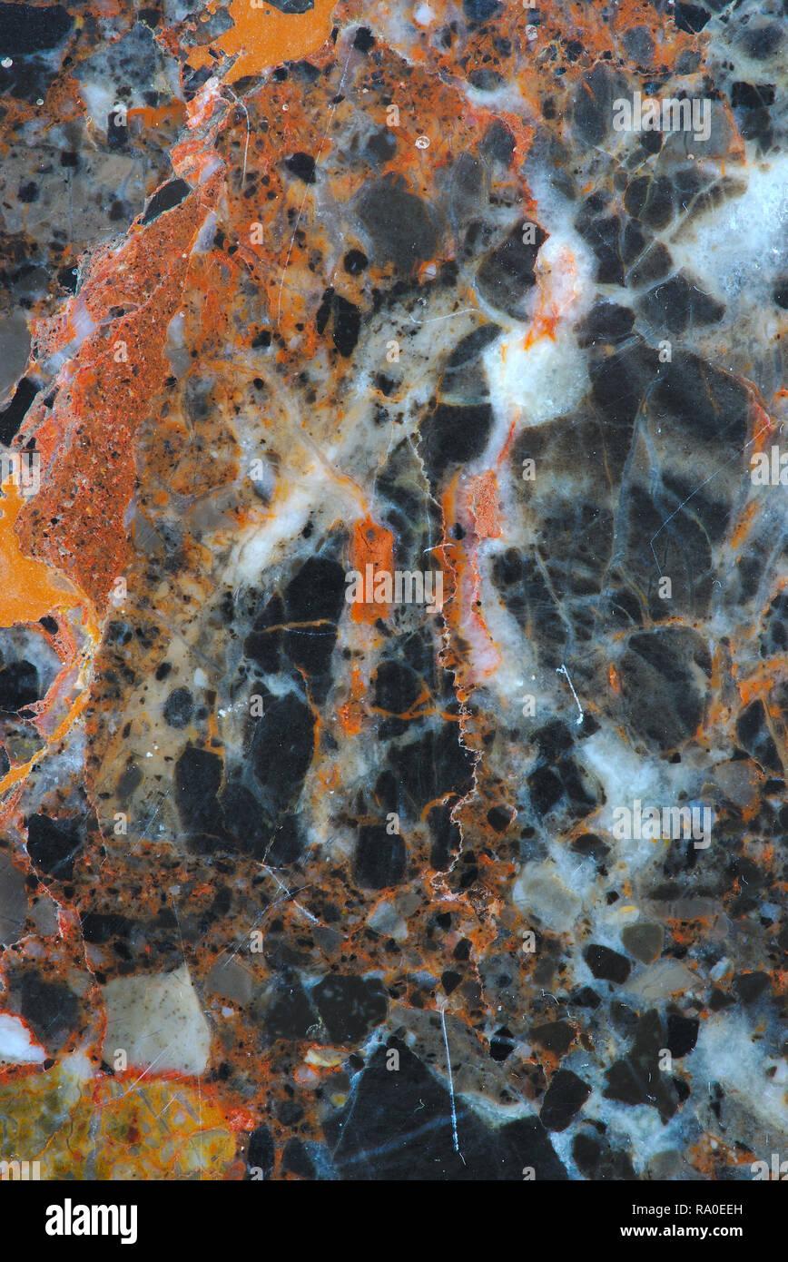 Arancione in marmo grigio texture. liscia materiali compositi. macro Foto Stock