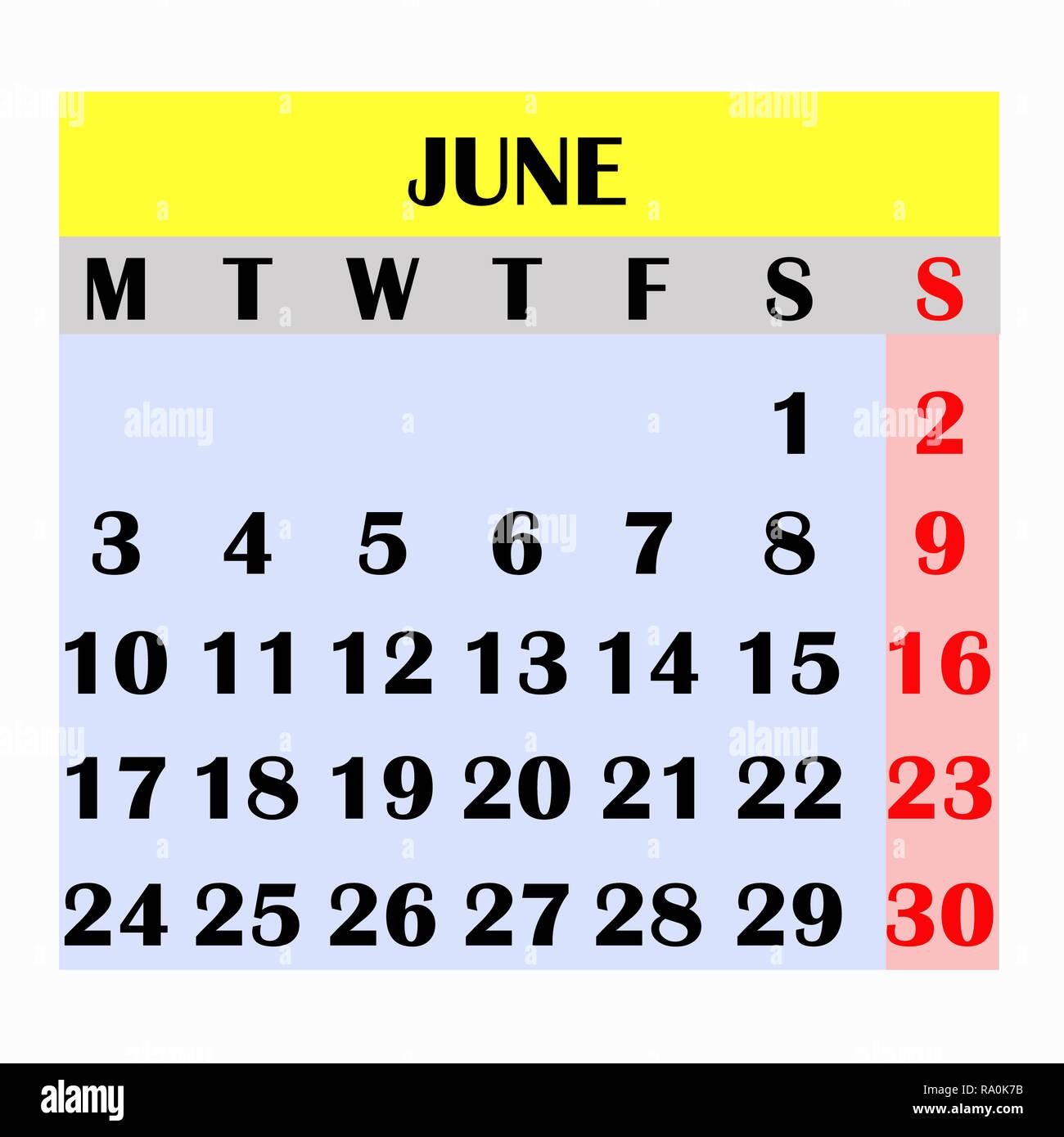 Calendario Mese Giugno.Il Design Del Calendario Mese Giugno 2019 Anno Di