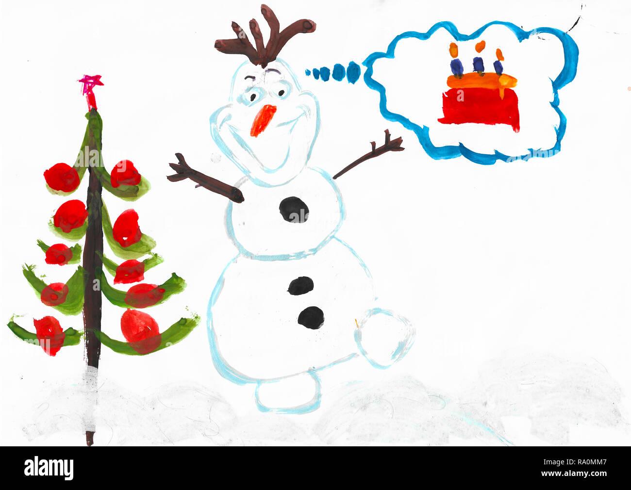 Pupazzo Di Olaf Albero Di Natale E Una Fetta Di Torta Con Candele