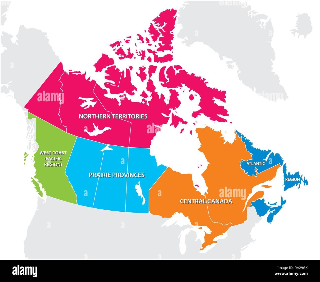 Mappa di contorno delle cinque regioni canadesi Immagini Stock