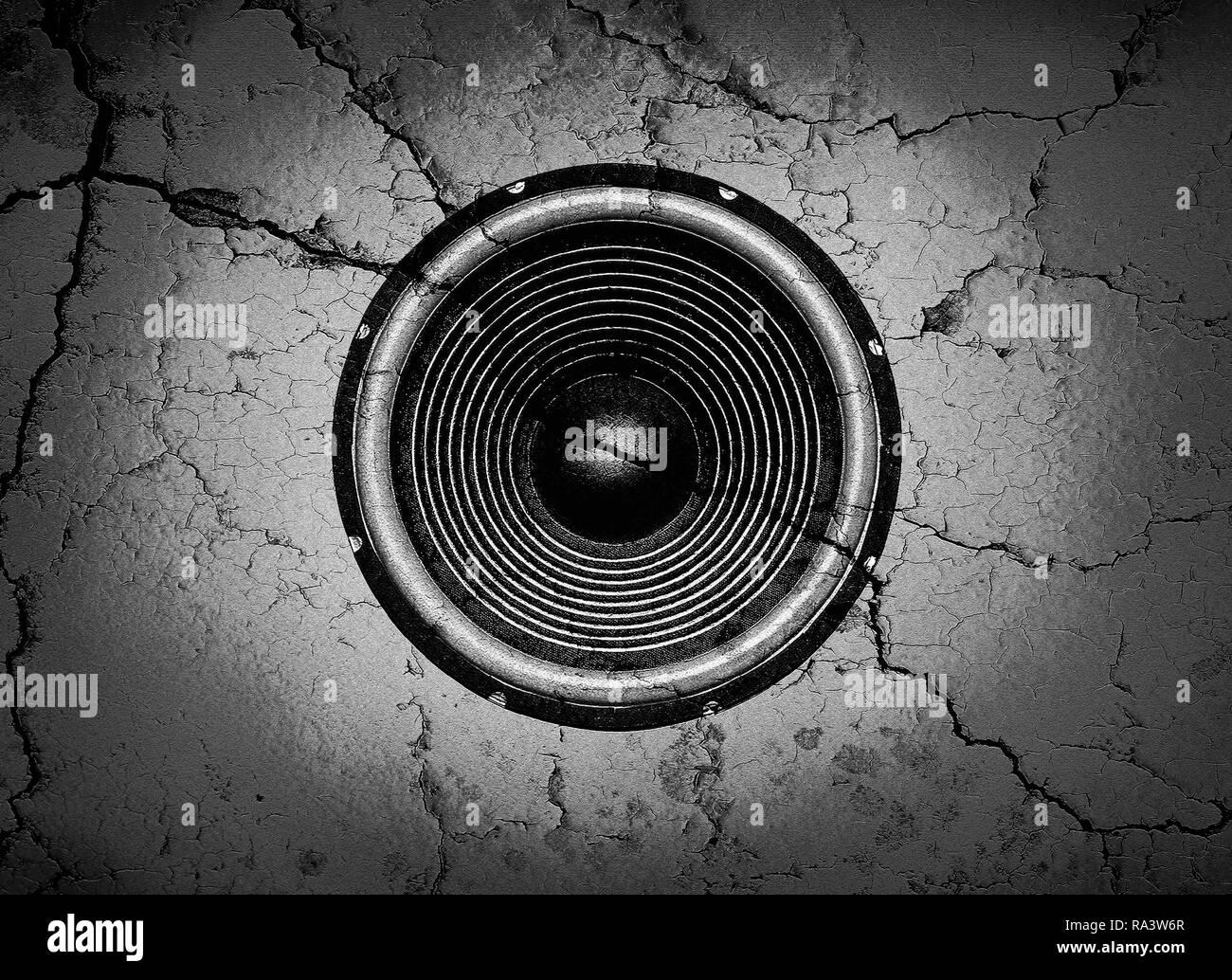 Bianco E Nero Altoparlante Musicale Su Un Muro Rotto Lo Sfondo Foto