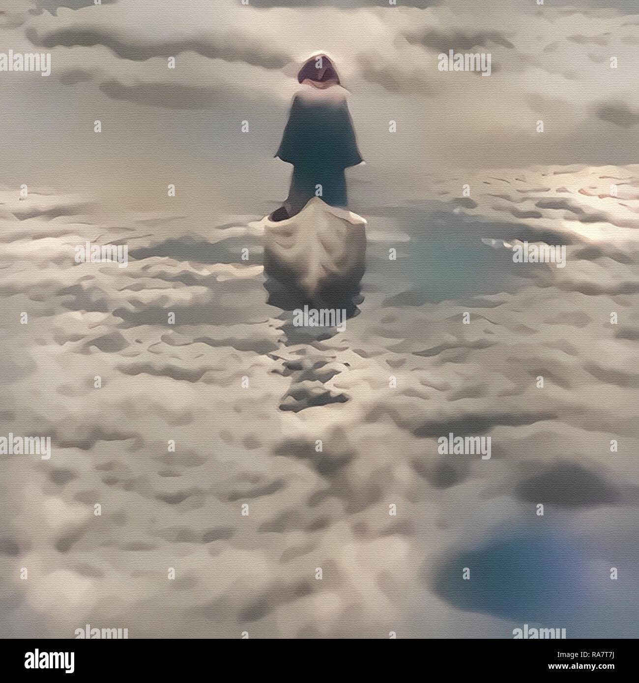 Composizione spirituale. Anima di viaggio. La figura di uomo nel mantello vela nel cielo Immagini Stock