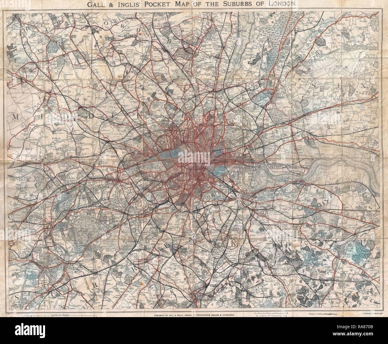 Cartina Di Londra E Dintorni.London Map 1900 Immagini London Map 1900 Fotos Stock Alamy