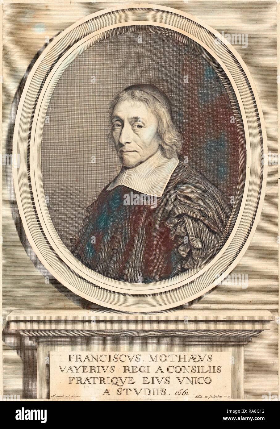 Robert Nanteuil (francese, 1623 - 1678), Francois de la Mothe Le Vayer, 1661, incisione. Reinventato da Gibon. Classic reinventato Foto Stock