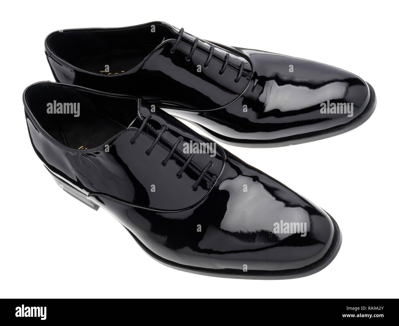 Vernice Nero scarpe in pelle per eventi speciali. Immagini Stock