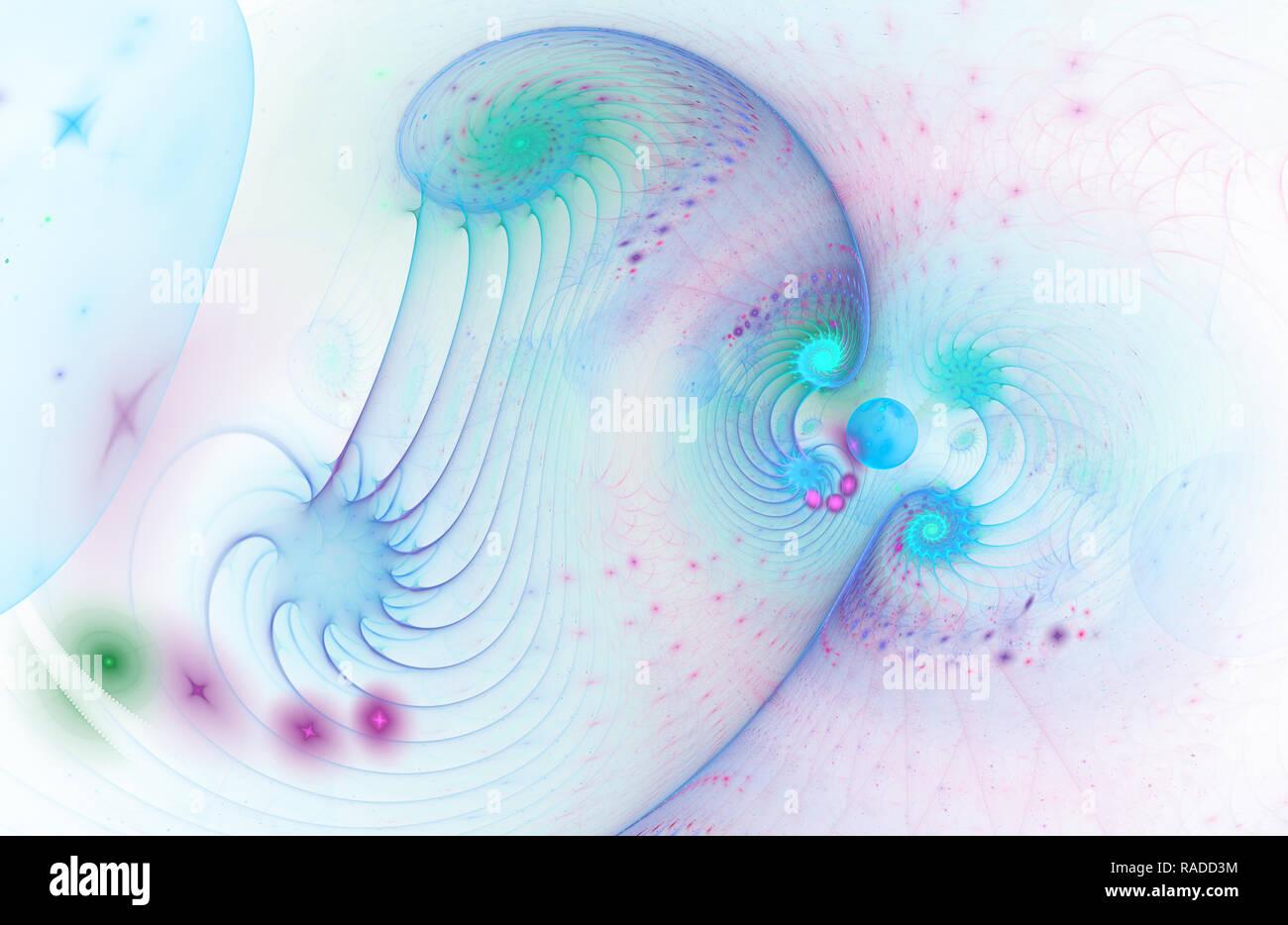 Bel colore forma di un tornado galassia a spirale nello spazio profondo. Torsioni del campo magnetico. Luminose abstract cover design, illustrazione digitale per creative grap Immagini Stock